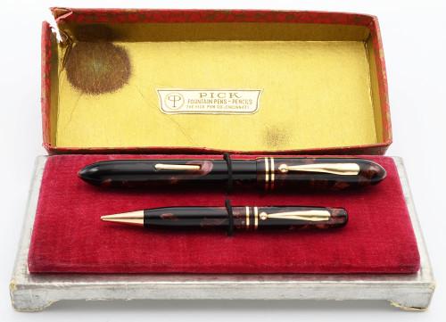 Pick Pen Co. Fountain Pen Pencil Set - Burgundy Marble, Full Size, Flexible #6 Nib (Excellent in Box, Restored)