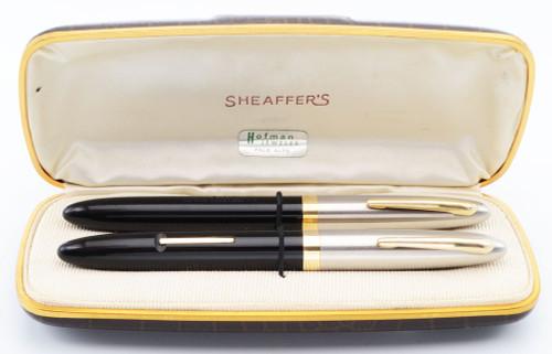 Sheaffer Sentinel Deluxe 1000 Fountain + Ballpoint Pen Set - Black, Fat Version, Lever Fill, Medium 14k Triumph Nib (Excellent + in Box, Restored)