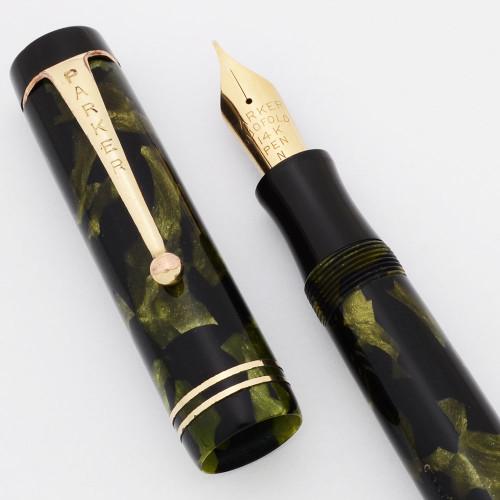 Parker Duofold Senior Streamline Fountain Pen (1930s) - Green Pearl & Black,  Button Filler, Fine Duofold Nib (Excellent, Restored)
