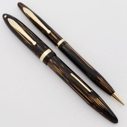 Sheaffer Balance 1000 Lifetime Fountain Pen Set (1936-42) - Standard Size, Brown Striated, XF Lifetime (Excellent, Restored)
