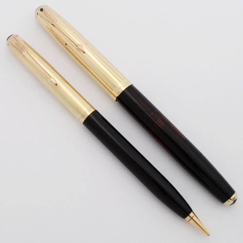 Parker Imperial Vacumatic Fountain Pen Set (Rare, 1937) - Black w Gold Filled Wavy Lines Cap, Fine (Excellent, Restored)