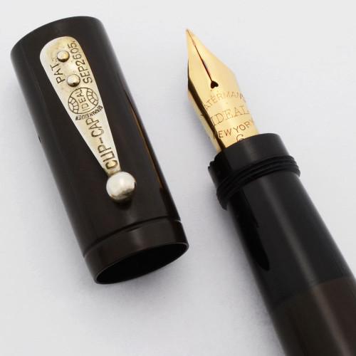 Waterman 16 Safety Pen - Black Smooth Hard Rubber, Fine Ideal New York Semi-Flex Nib (Excellent +, Restored)