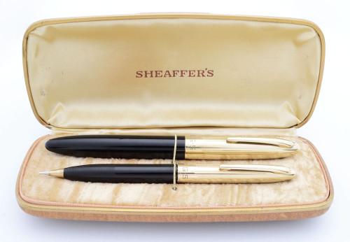 Sheaffer Crest 1750 Fountain Pen Set (1940s) - Black w/Gold Filled Caps, Fat Version w GF Cap, Lever Filler, Medium Triumph Nib (Excellent + in Box, Restored)