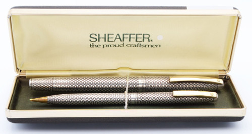 Sheaffer Silver Imperial Touchdown Fountain Pen and Mechanical Pencil Set (1970-71) - Sterling Diamond, Medium 14k Nib (Excellent +, In Box,  Restored)