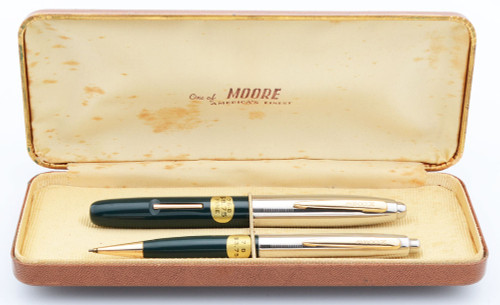 Moore 76-B Fingertip Fountain Pen and Mechanical Pencil Set  (1948)  - Hard to Find 2nd Generation,  Green w Chrome Cap, Lever Filler,  14k Fine Nib (Excellent +, In Box, Restored)