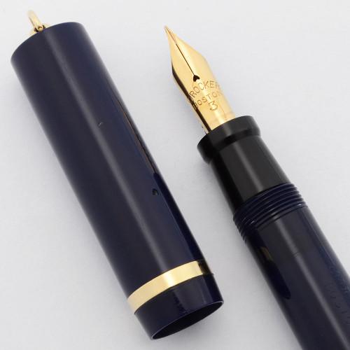 Crocker Combo Ring-Top Fountain Pen Pencil  - Dark Blue w/Gold Trim,  Lever Filler, Fine Flexible Boston #3 Nib (Excellent, Restored)