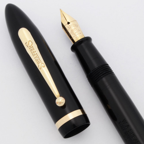 Sheaffer Balance Oversize w Detachable Tail (1929) - Black w/Gold Trim, Lever Filler, Fine Feather Touch #5 Nib (Excellent +, Restored)