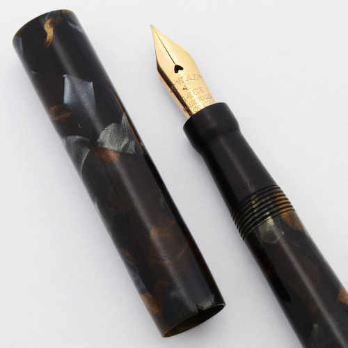 Mabie Todd Swan Minor SM1/57 (1930s) -  Blue and Bronze Marble, Lever Filler, 14k Flexible Nib (Very Nice, Restored)
