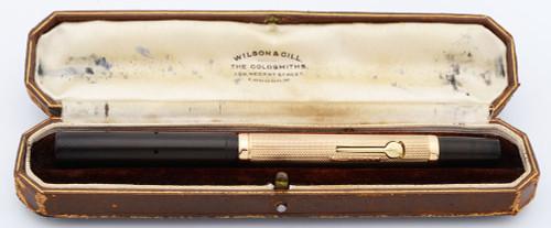 Waterman 52 1/2 Fountain Pen (1925, UK) - BHR w/9k Gold Textured Barrel, No Clip, Lever Filler, Medium 14k W2A Nib (Excellent + in Box,  Restored)