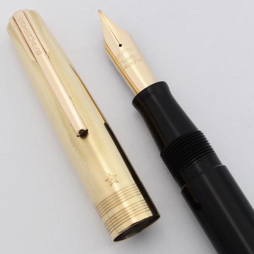 Waterman 100 Year Fountain Pen (early 1940s) -  Black w/Gold Cap, Fine Flexible 14k Nib (Excellent +, Restored)
