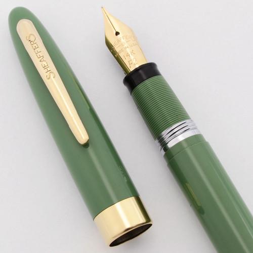 Sheaffer Admiral Snorkel Fountain Pen - Hard to Find Sage Green, Fine 14k Nib (Excellent, Restored)