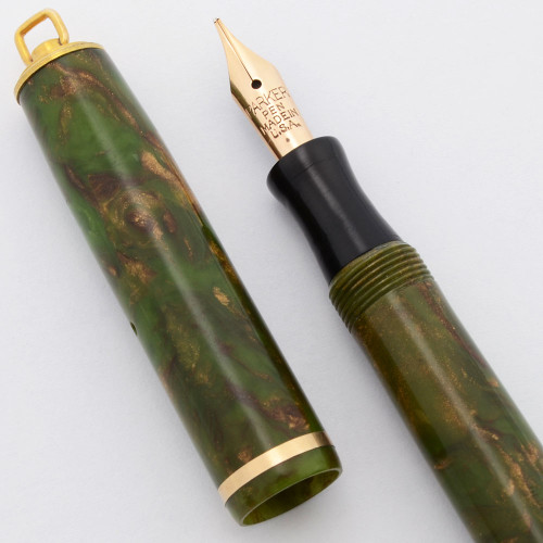 """Parker Lady """"Thrift Time"""" Fountain Pen - Ring Top, Moss Green and Bronze, Medium Flexible Nib (Excellent, Restored)"""