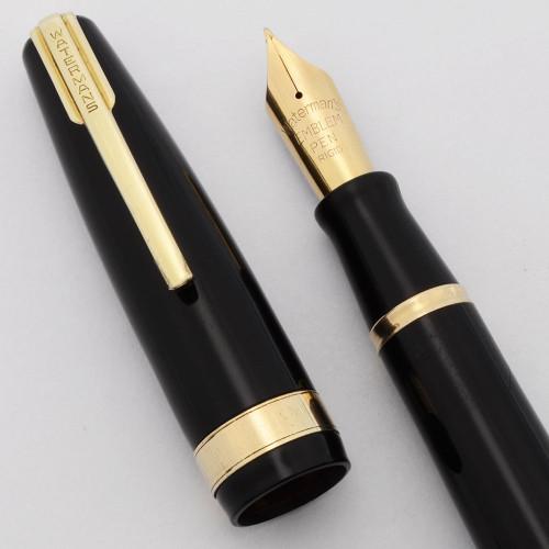 Waterman 100 Year Emblem Fountain Pen (1940s) - Black w/Gold Trim, Rigid 14k Fine (Excellent +, Restored)