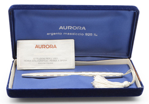 Aurora Archivi Storici Ballpoint - Model 044, Sterling Silver, Tassel (Excellent in Box, Works Well)