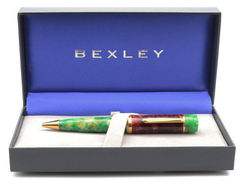 Gaston Holiday Special Edition Ballpoint Pen by Bexley (2004) - Red and Green Marbled (Near Mint in Box)