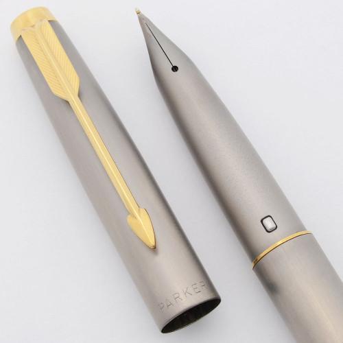 Parker T1 Fountain Pen - Brushed Titanium, GP Trim, Medium Ti Nib (Excellent, Works Well)