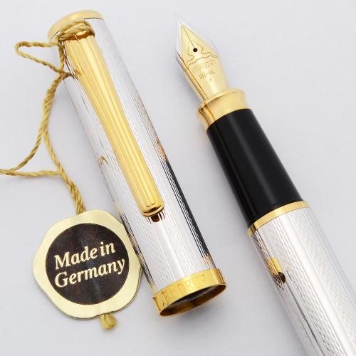 LeBoeuf Fountain Pen (1995) - Silver Plated, Opal Jewel, C/C, Fine 18k Nib (Near Mint, Works Well)