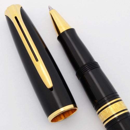 Waterman Charleston Rollerball Pen - Ebony Black w/Gold Trim, Chrome Trim (Excellent +, Works Well)