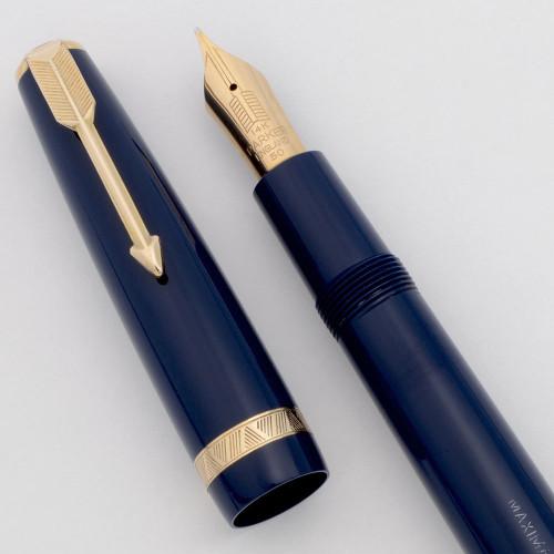 Parker Duofold UK Maxima Oversize (1950s) - Blue w/Gold Trim, Aerometric, Medium 14k Nib (Excellent +, Works Well)