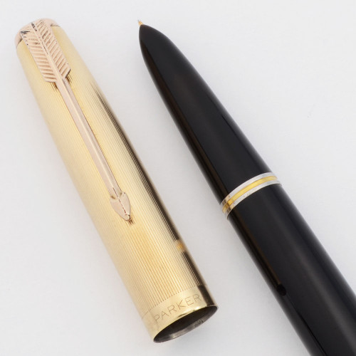 Parker 51 Vacumatic (1947) - Black, Gold Filled Parallel Lines Cap, Fine (Excellent +, Restored)
