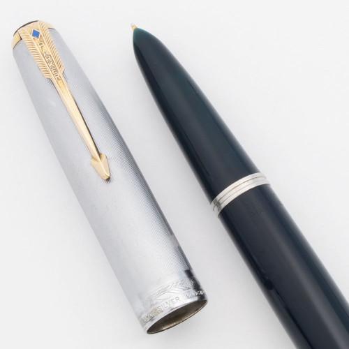 Parker 51 Vacumatic Fountain Pen (1948) - Cedar Blue, Sterling Cap, Gold Trim, Fine Nib (Excellent +, Restored)