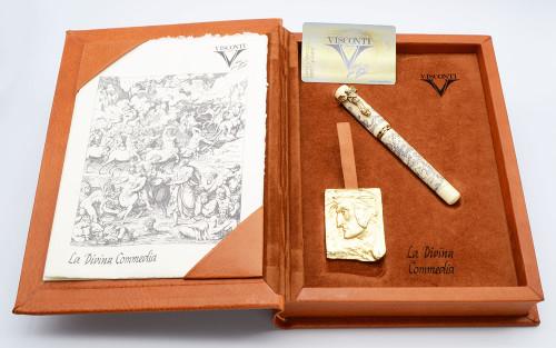 Visconti La Divina Commedia Limited Edition Fountain Pen - 31/388, Antique Celluloid w/Vermeil, Power Filler, 18k Stub Nib, (Mint in Box, Works Well)