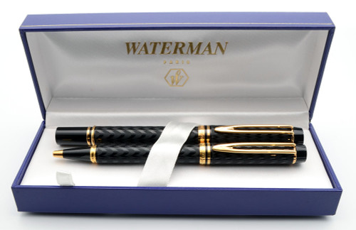 """Waterman Le Man 100 Fountain and Ballpoint  """"Opera"""" (1983) -  Black w/Gold Trim,  C/C, Fine 18k Nib (Excellent + in Box, Works Well)"""