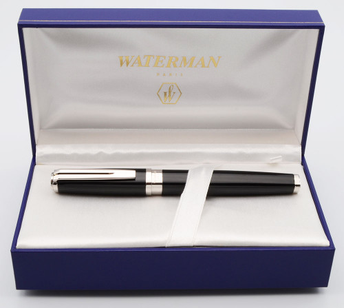 """Waterman Exception """"Night & Day"""" Fountain Pen - Large, Black and Silver,  C/C,  Medium 18k Nib (Near Mint in Box, Works Well)"""