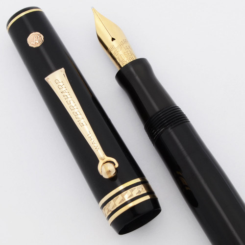"""Wahl Eversharp Equi-Poised Gold Seal (1930s) - Full Size, Black, Lever Filler, Gold Seal """"Flexible"""" Nib (Very Nice, Restored)"""