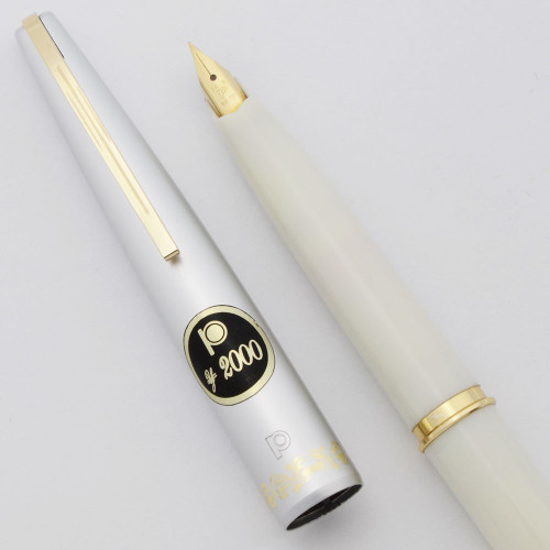 Platinum Pocket Fountain Pen (1970s) - Ivory Satin,  C/C, Fine 14k Nib (Excellent +, Works Well)