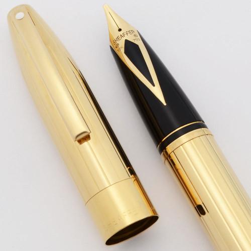 Sheaffer Legacy 2 Fountain Pen (2003-08) - Deep Cut Linear Gold Plate - Jim Gaston Special Edition, Touchdown, Left Oblique 18k Nib (Excellent +, Works Well)