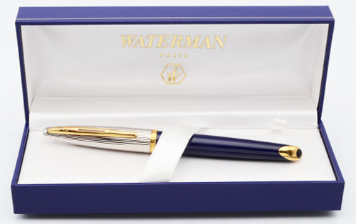 Waterman Carene Deluxe Rollerball Pen (1990s) - Blue Lacquer and Silver (Near Mint in Box)