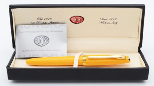 Aurora Style Fountain Pen - Mustard w/Gold Trim, C/C, Medium Steel Nib (Excellent +, In Box, Works Well)