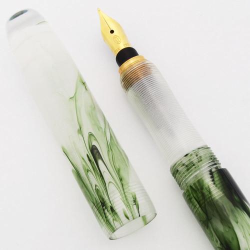 "PSPW Prototype Fountain Pen for Cartier 18k Nibs - ""Seaweed"",  Cartridge/Converter (New)"