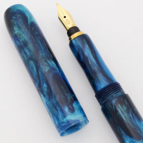 "PSPW Prototype Fountain Pen for Cartier 18k Nibs - ""Ocean Depths"", Slender, Cartridge/Converter (New)"