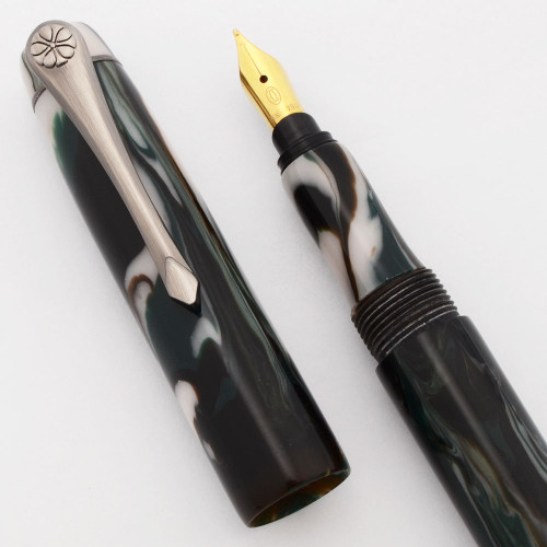 """PSPW Prototype Fountain Pen for Cartier 18k Nibs - """"Pine Forest"""",  with Clip, Cartridge/Converter (New)"""