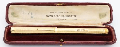 Mabie Todd Swan Eyedropper Fountain Pen - 14k Solid Gold over BHR, 14C Fine  Nib (Excellent in Box, Restored)