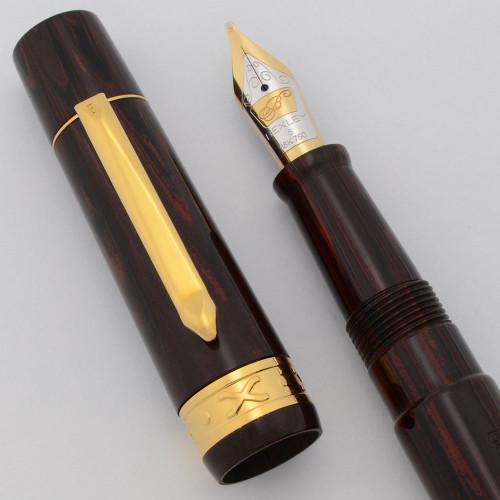 Bexley 10th Anniversary Fountain Pen (2003) - Rosewood Ebonite,  18k Stub Nib (Near Mint, Works Well)