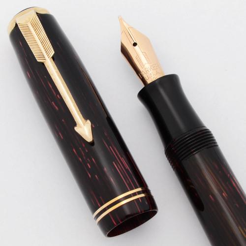 Parker Vacumatic Shadow Wave Junior Fountain Pen (1938) -  Red Striated w/Gold Trim, Lockdown, Medium (Excellent +, Restored)