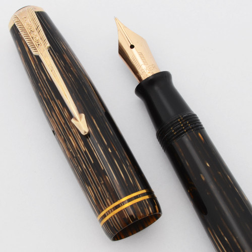 Parker Vacumatic Shadow Wave Fountain Pen (1939) - Double Jewel, Brown Striated, Speedline Filler, Fine Nib (Excellent +, Restored)
