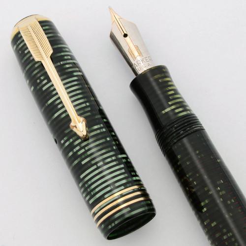 Parker Vacumatic Standard Fountain Pen (1937) - Green Pearl, Lockdown Filler, Double Jewels, Fine Nib (Excellent +, Restored)