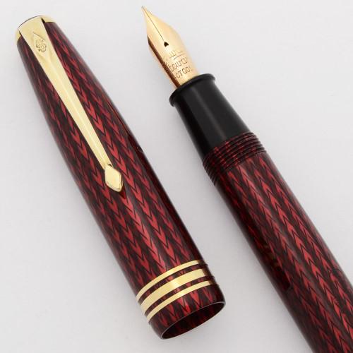 Conway Stewart 77 Fountain Pen (1950s/60s) - Red Herringbone, Lever Filler, Fine Flexible 14k Nib (Excellent, Restored)