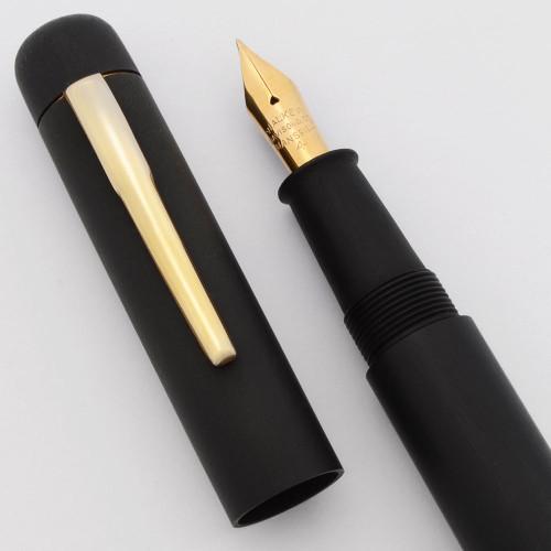 Ranga Ebonite 4cs Blow Filler - Black Matte, Semi-Flex Fine Walker Davison 14k Nib (Excellent, Works Well)
