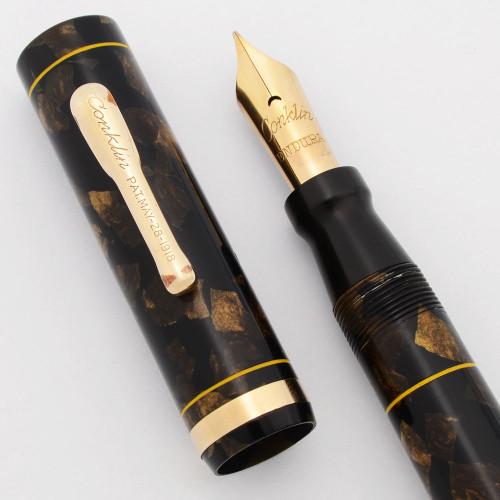 Conklin Endura Oversize Fountain Pen (1920s) -  Black & Bronze, Lever Filler, Endura Medium-Fine Nib (Excellent +, Restored)