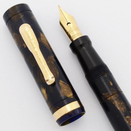 Conklin Endura Imperial Fountain Pen (1920s) - Purple & Bronze w/Gold Trim, Lever Filler, Fine Flexible Nib (Excellent, Restored)