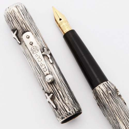 Waterman 412 Fountain Pen (1920s)  -  Sterling Silver w/Crosses Overlay, Eyedropper, Ideal Medium Flexible Nib (Excellent +,  Works Well)