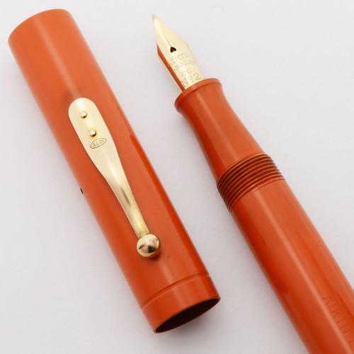 Aiken Lambert Mercantile (1930s) - Red Hard Rubber,  Lever Filler,  Fine Flexible  #2 14k Nib (Excellent +, Restored)