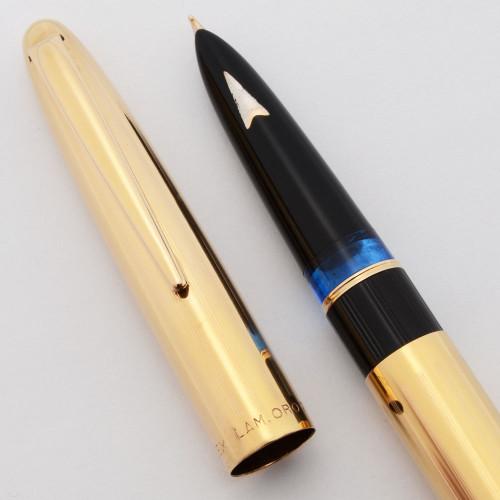Lalex Fountain Pen  (1950s) - Gold-Plated, Piston Filler, Fine Hooded Nib (Excellent)