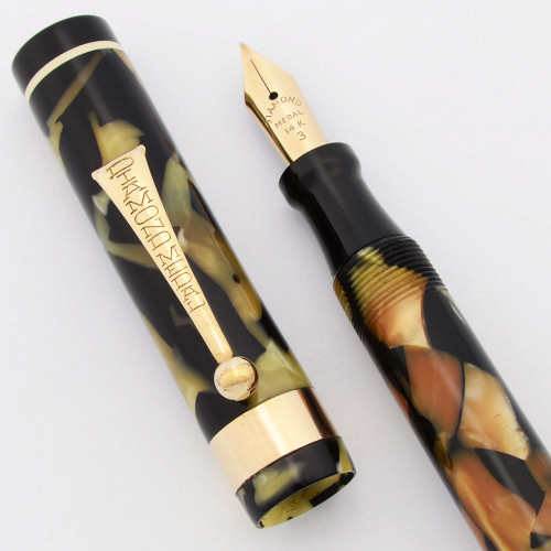 Diamond Medal Fountain Pen (1920s) - Full Size, Black and Pearl w White Bands, Fine #3 14k Nib (Excellent, Restored)