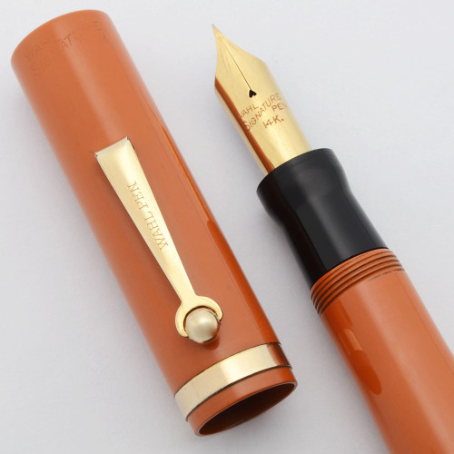 Wahl Oversize Signature Fountain Pen - Roller Clip (1920s), Red Hard Rubber,  Lever Filler, Fine Flexible 14k Nib  (Excellent +, Restored)